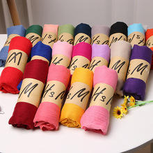 Fashionable wholesale solid color lady scarf twill soft cotton shawl scarf