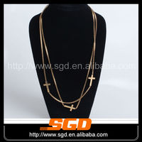 Golden color with cross thin gold chain necklace designs