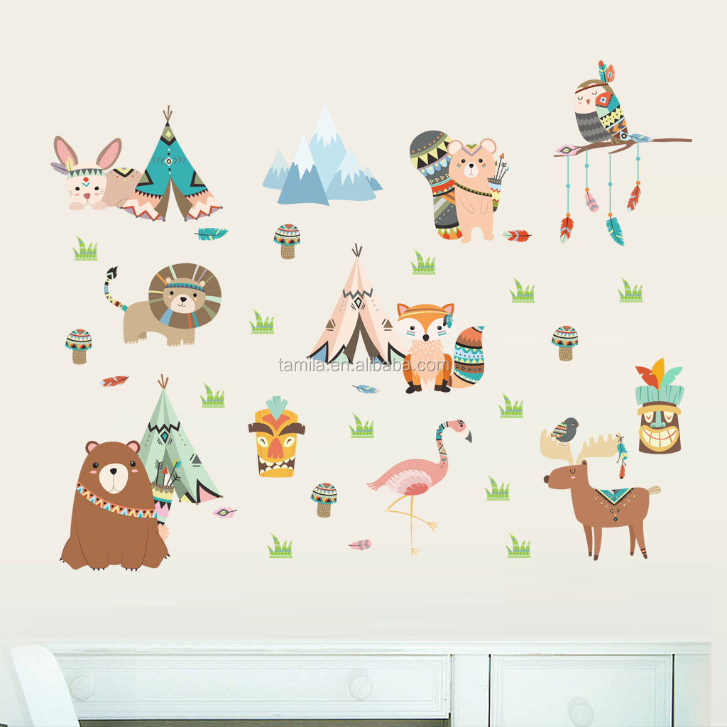 New bedroom living room decorated wall stickers Indian culture style cartoon animal wall stickers