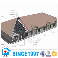 Buy The Light Steel Structure Flat Roof Prefab Villa House