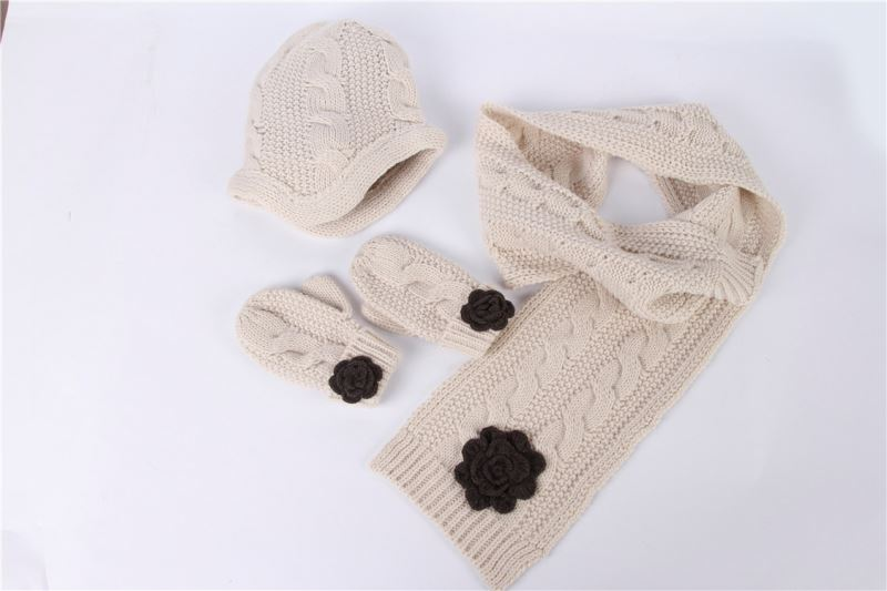 High quality children white knitted wool beanie hat scarf glove set