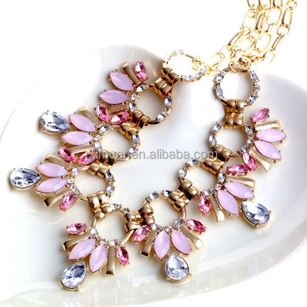 Fashion gold chain rhinestone choker necklace