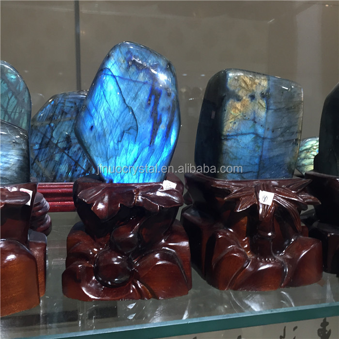 Wholesale Natural Cheap Flashy polished Labradorite Stone Crystal Palm Stone