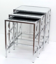 living room furniture circle inlay nested Silver Mirror End Table