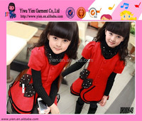 2014 New Fashion Red Lace Collar Dress Hot Single-Breasted Princess Sweet Baby Girl Dress Prices
