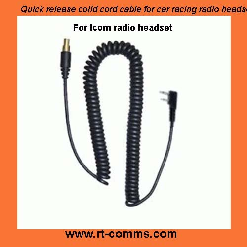 Quick release coild cord cable for car racing radio headset