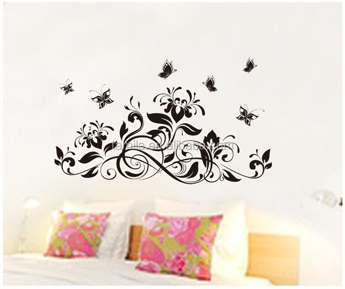 Black Flower Vine Butterfly Home Decor Art Decal Removable Wall Stickers