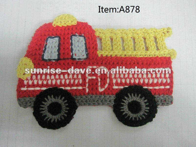 Bordado firetruck parche, ganchillo bus applique