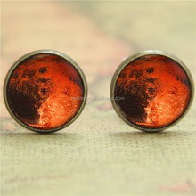 Planet Mars earring, Astronomy Outer Space Planet earring Red Planet Gift glass photo earring