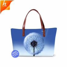 2018 Trending Products Dandelion Pattern Neoprene Tote Bag Handbags For Women Made In China