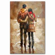 Hot sell male female body hugged painting nude chinese couples oil painting