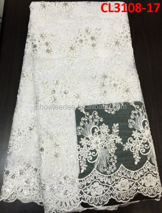 High quanlity sequins white color embroidered net lace/french lace fabric for making wedding dress or cloth CL3108-17