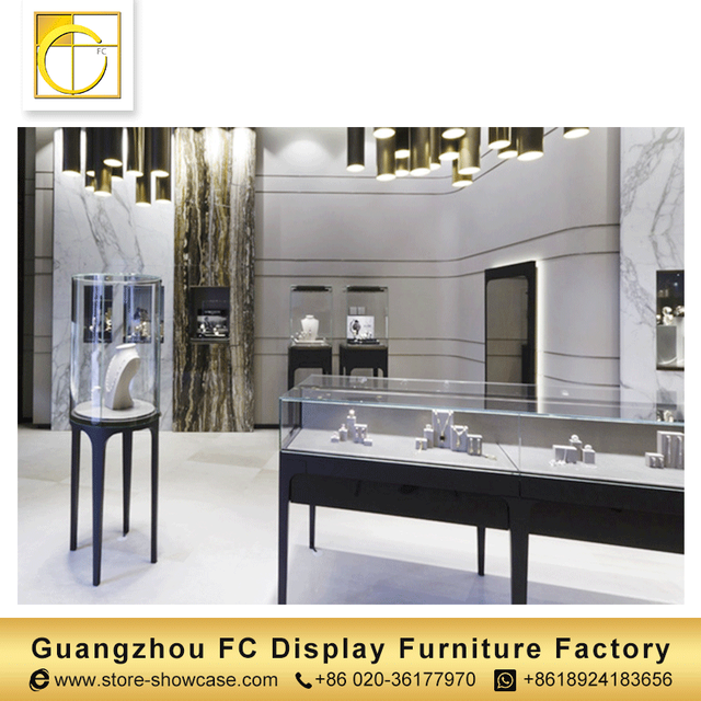 MDF tempered glass professional custom modern furniture jewelry showcase shop interior design jewellery counter display