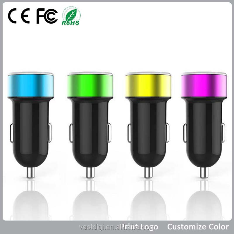car accessories Support Mobile Phone/Tablet/PDA/MP3/MP4/GPS Aluminum round car charger Dual usb car battery charger