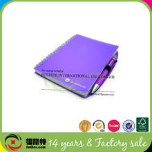 2014 promtional spiral pp cover notebook with pen