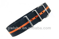vogue watch strap nylon stripe watch strap black/orange nylon strap integrated watch bands