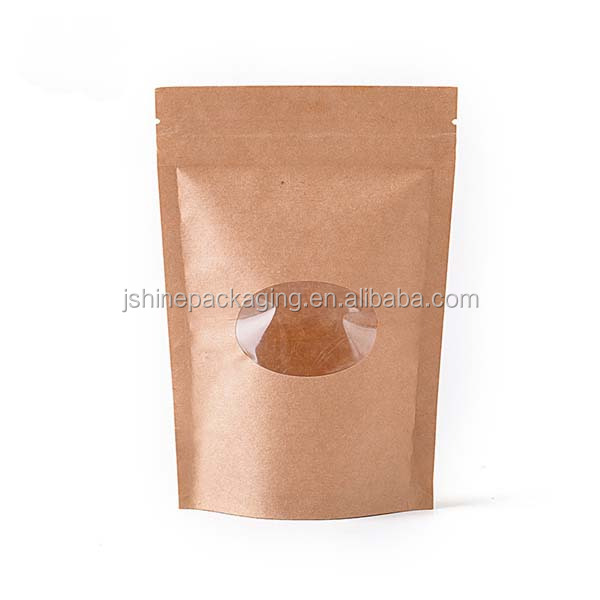 plastic lined brown recycle ziplock paper craft bag