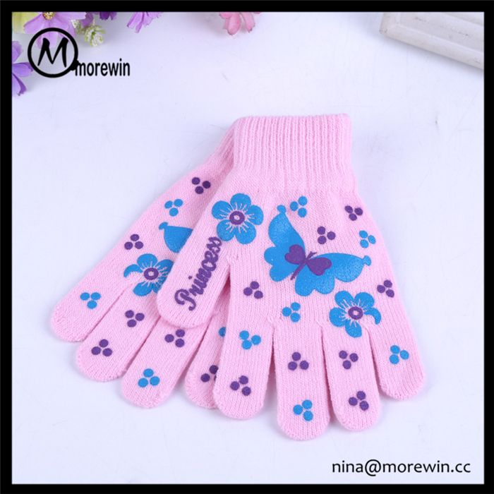 Morewin wholesale cheapest acrylic gloves unisex girls' magic gloves pink
