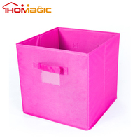 collapsible folding Home clothes foldable cube fabric storage box bin with handle