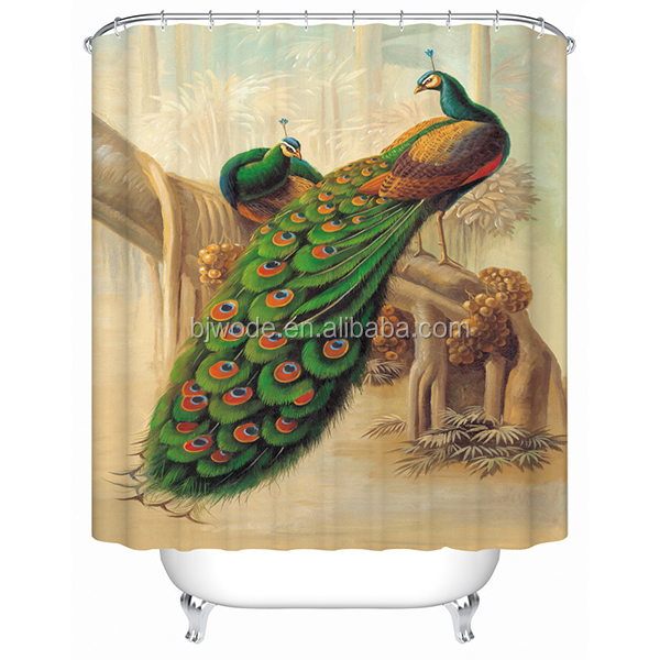 Most popular green peacock design 3d digital printing luxury bath shower curtain