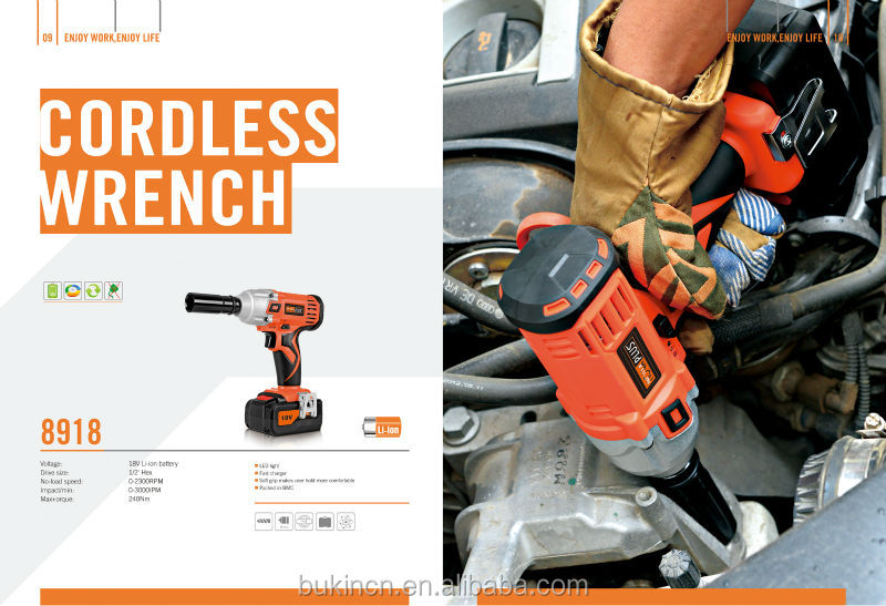 240Nm high torque Cordless Electric Impact Wrench with 18V rechargeable Li-ion battery ( for construction and manufacturing )