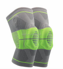 High quality grey and green nylon silicone spring knee support for recovery#HX-21