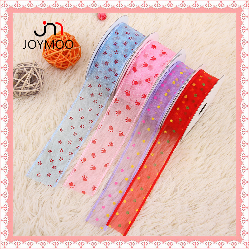 2016 China Supplier New Dotted Flower Pattern Sheer Organza Embossed Edged Ribbon for Celebrate Ribbon Bow Hair RIbbon Wholesale