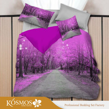4PCS luxury Home Goods purple printed high quality 3d bedding set
