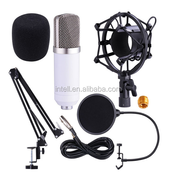 microphone BM-800 !!! Sound Recording Microphone BM-800 with Mic Shock Mount 3.5mm Audio Cable Foam Cap for PC Radio Broadcastin