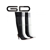 GD New arrival high heel fashion boot /white black pu knee high boots for lady