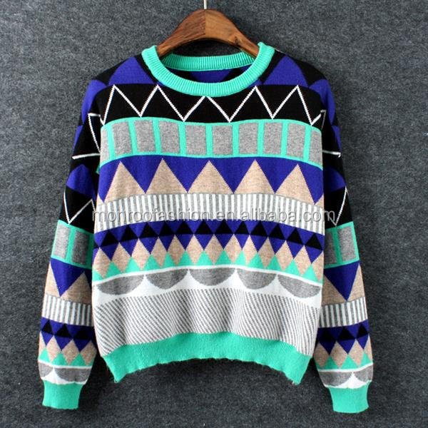 Monroo pop art vintage crochet autumn winter plaid latest women sweater