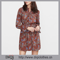 2017 Latest designs china factory wholesale price women Brown Floral Print Shirt Dress