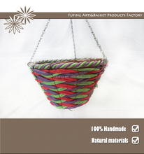 12 inch Paper rope flower hanging round basket plant pot with chain