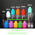 empty 10ml e-liquid bottles with long & thin tips and tamper-proof caps