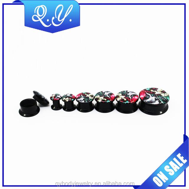 Wholesale acrylic colorful printing earring stud plug tunnel