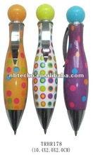Novel bowling bottle shape ball pen with dots for promotional