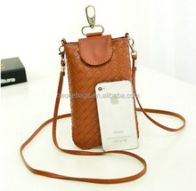 PU leather waterproof cell phone bag with strap