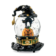 Halloween Fashion Pumpkin & Black Cat Decor Water Globe