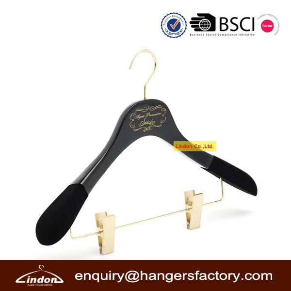 Gold Hook and Clips Luxury Wood Brand Hangers with Velvet Covered Shoulder