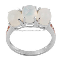 Sterling Silver Opal And Orange Sapphire Ring 925 Sterling Silver Jewelry Wholesale