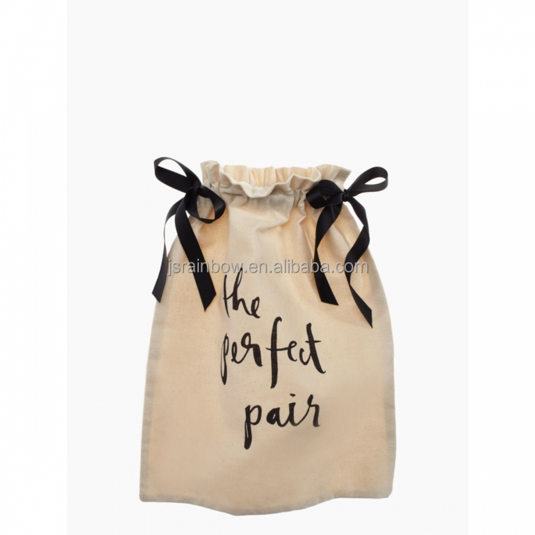 Hot sale custom shoes dust bag pure color canvas cotton drawstring bag