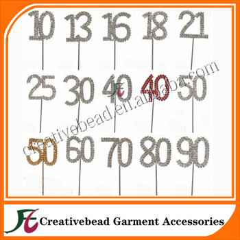 Diamante Rhinestone Gem Cake Pick Topper Birthdays Anniversary Silver Numbers