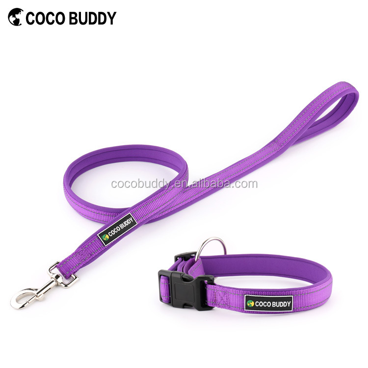 USA Popular Reflective Pet Accessories Neoprene Padding Dog Collars and Retractable Dog Leash