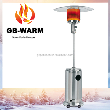 Stand Up Wicker Patio Heater With Gold Hammered Pole