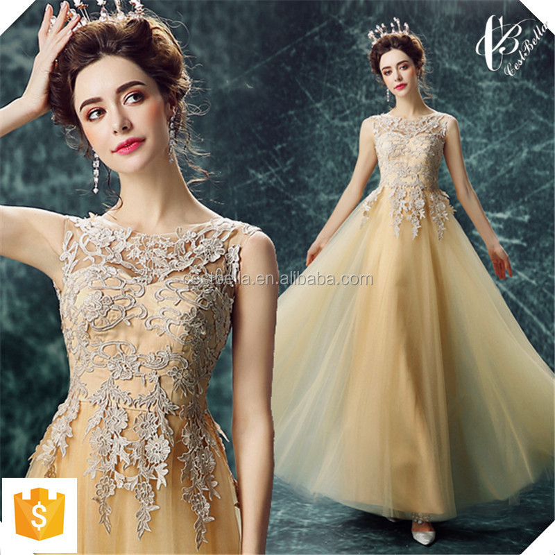 Sequin Long Golden Evening Dresses 2016 New Arrival Women Elegant Long Golden Formal Gowns Dinner Dress