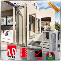 Safety glass aluminium folding sliding door/aluminum folding doors exterior