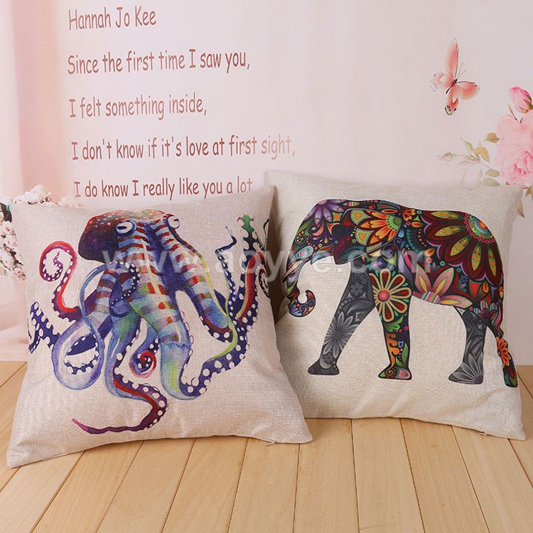 Casual cute custom animal 3D Printed elephant octopus shaped cushion decorative cheap sofa pillow