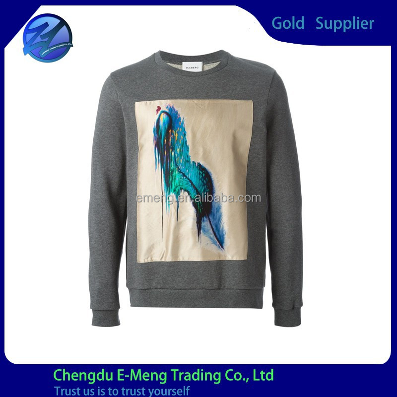 2015 Cotton Knitted Men's Custom Design Print Winter Sweatshirt for Men