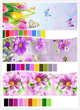 100% polyester printing and dyed fabric & 3d disperse printing fabric purple dandelion flower designs of printed fabric