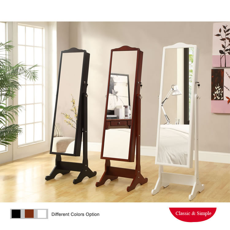 fashion wooden jewelry storage armoire mirror